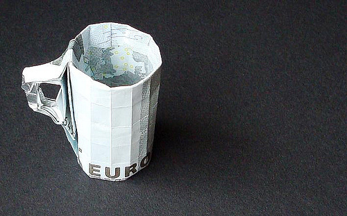 Cup glass money origami artwork paper design