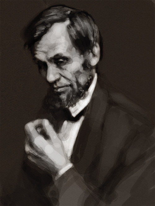 Black and white abraham lincoln artwork illustration