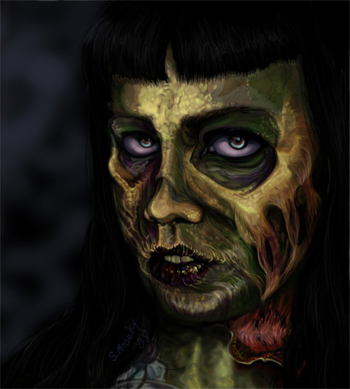 Female zombie halloween artwork illustration