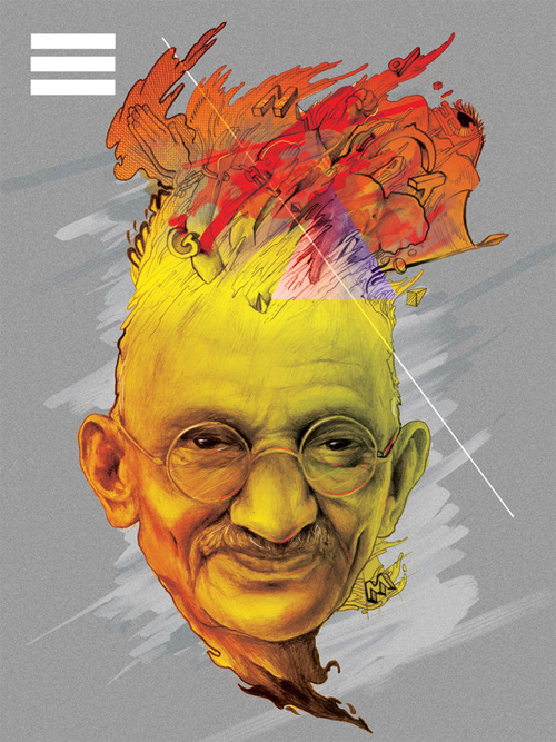 gandhi artwork picture illustration