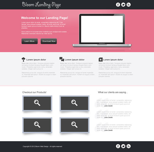 Design a Clean Landing Page Template in Photoshop (Free PSD)