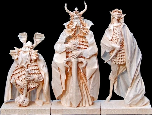 Figure statue origami artwork paper design