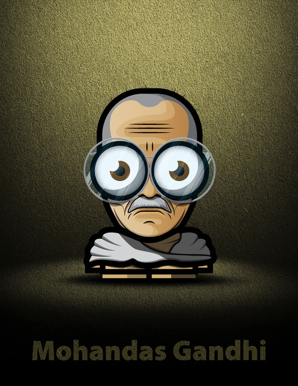 gandhi artwork picture illustration cartoon