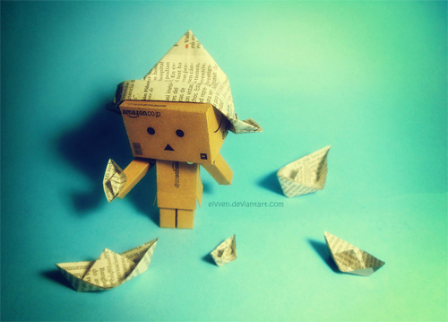 Paper boat playing blue danbo photography cute