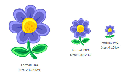 Blue Flower Drawing Icon