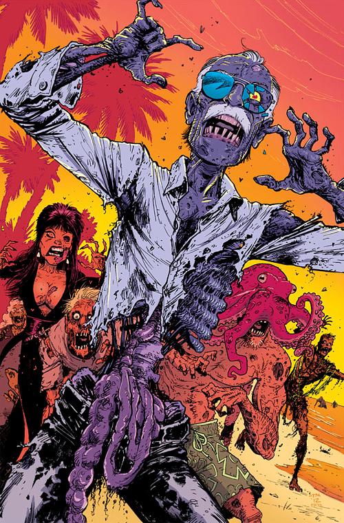 Cartoon old man zombie halloween artwork illustration