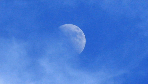 Daytime blue cool moon wallpaper