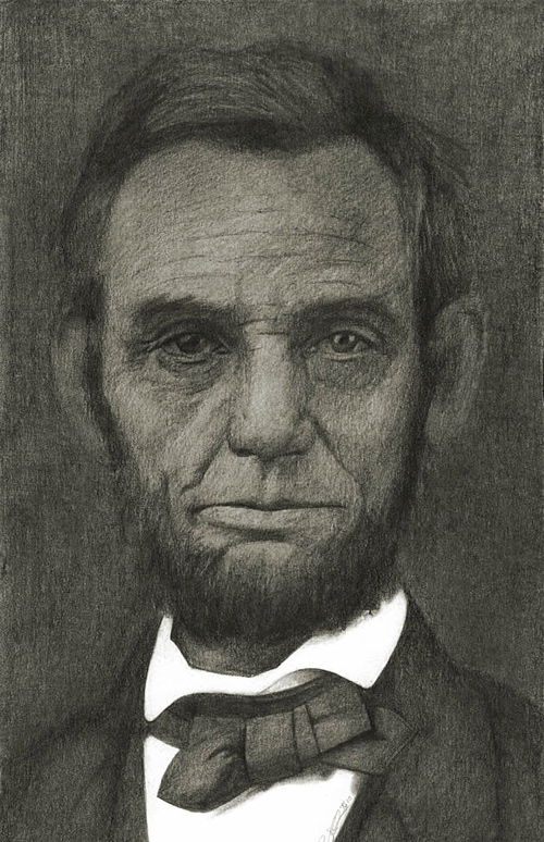 Pencil sketch drawing abraham lincoln artwork illustration