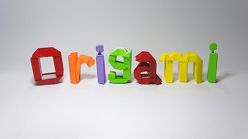 Typography letters origami artwork paper design