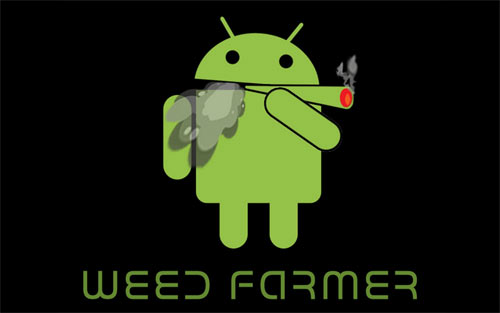 Android Smoking a Joint on Bla wallpapers