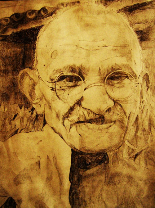 gandhi artwork picture illustration old