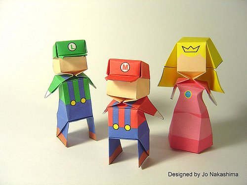 Super Mario origami artwork paper design