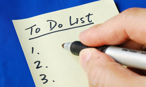 Create a to-do list for your return