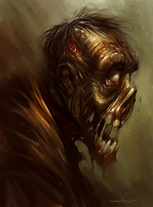 Ugly zombie halloween artwork illustration