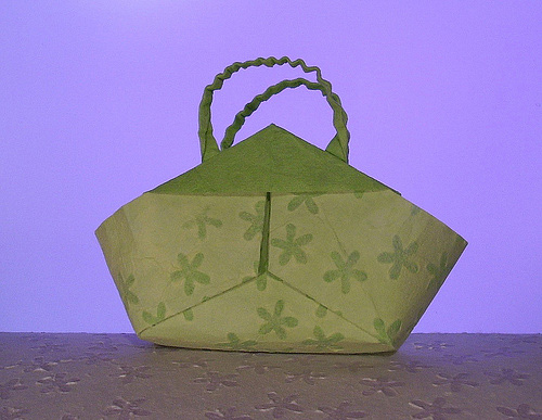 Green bag origami artwork paper design