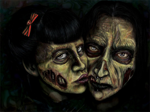 Couple zombie halloween artwork illustration