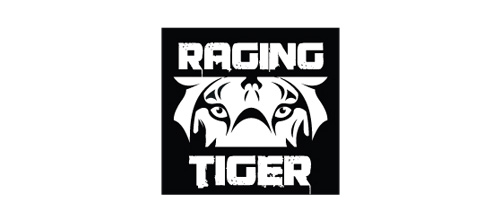 Raging black white tiger logo