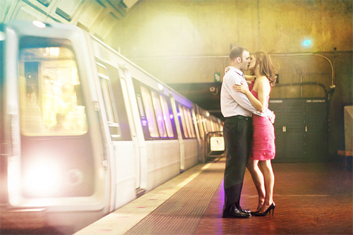 Train formal couple engagement photography