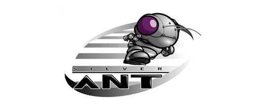 Silver robot cool ant logo