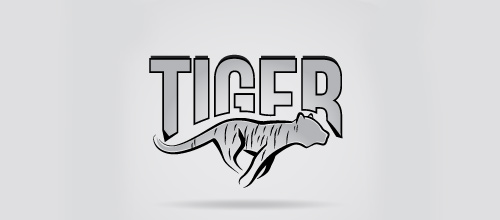 Grey running tiger logo