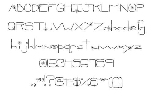 Flower doodle fonts sketch free