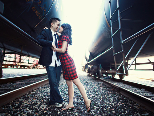 Rail road couple engagement photography