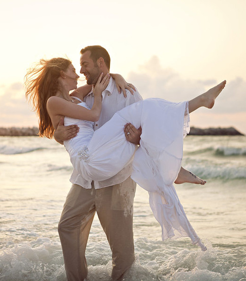 Romantic beach couple engagement photography
