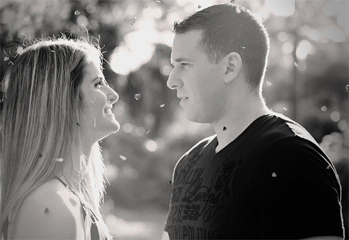 Black white beautiful couple engagement photography