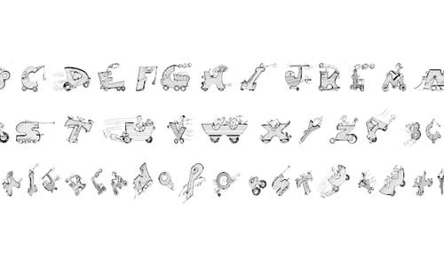 Cars doodle fonts sketch free