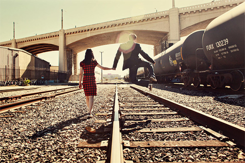 Rail road funny couple engagement photography