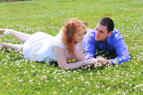 Flower lawn couple engagement photography
