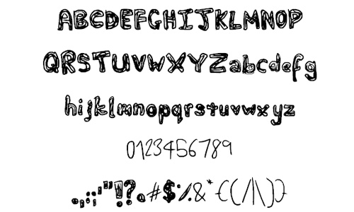 Shaded doodle fonts sketch free