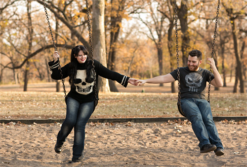 Swing playground couple engagement photography