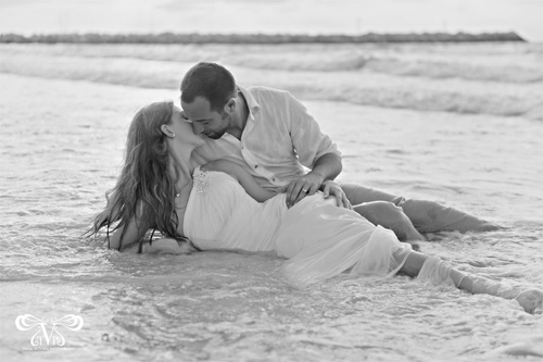 Beach black white couple engagement photography