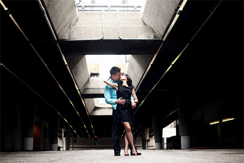 Subway couple engagement photography