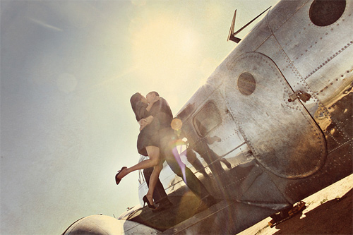 Aircraft plane couple engagement photography