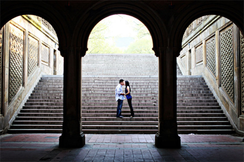 New York stairs couple engagement photography