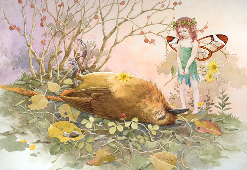 Girl bird cute fairy illustrations artworks