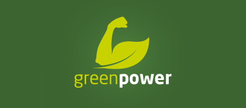Green muscle arm leaf logo
