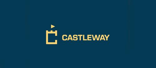 Blue simpe castle logo