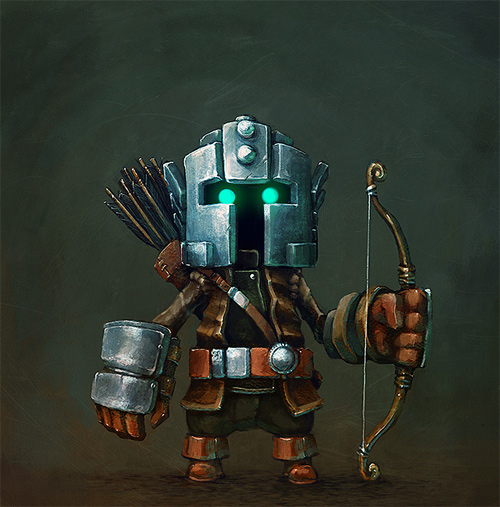 robot archer illustrations artworks drawings