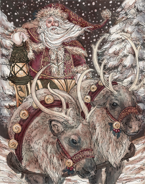 Lovely santa claus christmas artworks illustrations