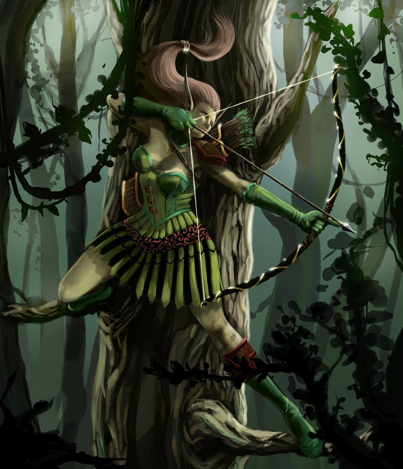 elf green female archer illustrations artworks drawings