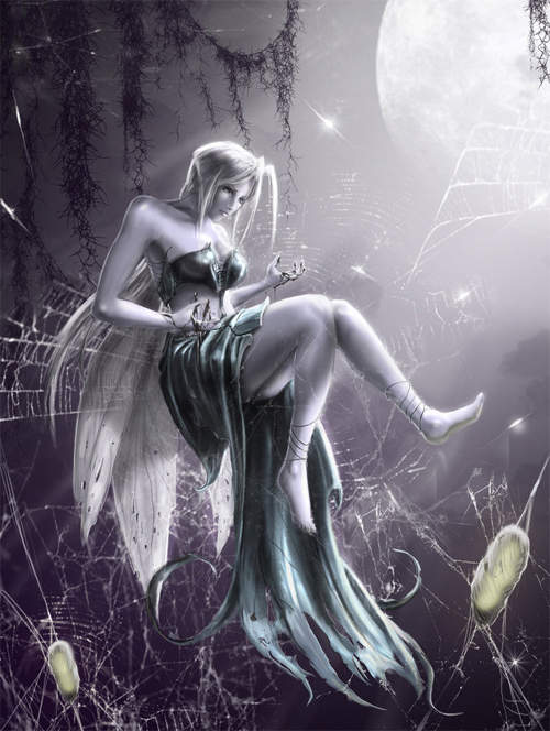 Moon spider fairy illustrations artworks