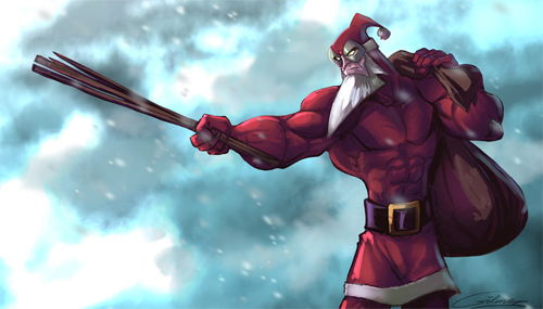 Superhero santa claus christmas artworks illustrations
