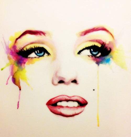 Watercolor face marilyn monroe artworks illustrations