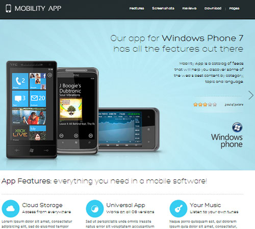 MobilityApp - iPad, iPhone or Android app theme