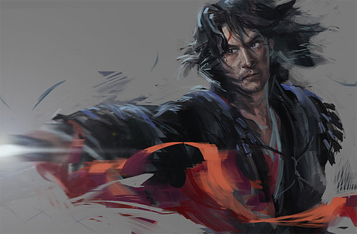Long hair swordsman artworks illustrations