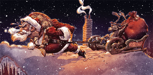 Sleigh santa claus christmas artworks illustrations