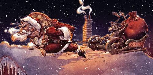 Sleigh santa claus christmas artworks illustrations